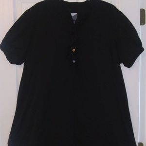 black short sleeved long blouse tunic XL nwot